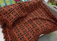 More details for large vintage welsh wool reversible bed-cover / spread / blanket - 102