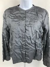 Eileen Fisher Jacket Silver Hook Front Cropped Size Small Petite EUC