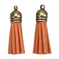 Suede Tassel Charms with Bronze Cap for Jewellery & Crafts Orange 36mm (H21/2)