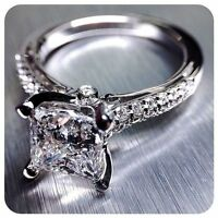18K W. Gold  2.00 Ct Princess Cut Diamond Round U-Set Engagement Ring G,VS1 GIA