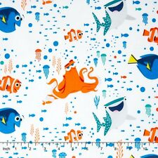 Disney Finding Dory Characters & Coral Octopus 100% cotton fabric by the yard