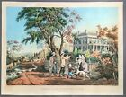 [Nathaniel Currier]  Hand-Colored Lithograph   American Country Life  1855