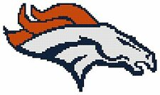 Counted Cross Stitch Pattern, Denver Broncos Logo - Free US Shipping