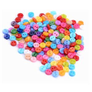 200 6mm Mixed Mini Round Acrylic Tiny Buttons Lots 2 Holes Sewing Accessories Em