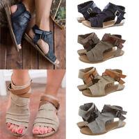 Women Flat Sandals Summer Canvas Espadrilles Open Toe Gladiator Roman Shoes Size