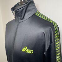ASICS Vintage Retro 90's Black & Neon Yellow Track Tracksuit Zip Top Jacket M