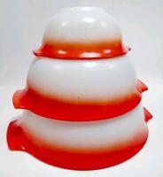Set of 3 Jeanette Glasbake HTF poppy glow mixing bowls