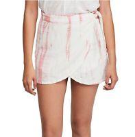 Free People Women's Wrap Skirt Red Size 6 Tie Dye Mini Tulip Hem $68 #200