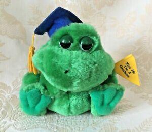 "Vintage Russ Luv Pets KISS ME I'M A GRADUATE Frog Plush Stuffed Animal Toy 5"""