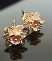 Ladies 925 Sterling Silver Yellow & Rose Gold Plated Daffodil Stud Earrings
