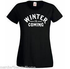 Donna Inverno sta arrivando gioco di THRONES Tight Fit T Shirt Nero TV Slogan MEDIUM