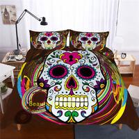 Skull Floral Single/Double/Queen/King Bed Doona/Duvet/Quilt Cover Set Pillowcase
