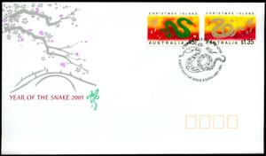 """Weihnachts Inseln 2001 """"Jahr der Schlange - Holoramm"""", MiNr 479/0 auf FDC"""