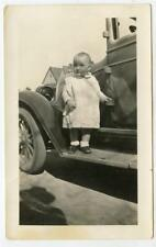 Funny Kid Baby On Old Car Running Board Vintage 1928 Photo