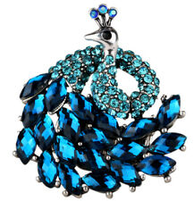 Peacock stretch ring scarf clasp fashion jewelry gifts women her 9 silver blue
