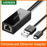 UGREEN Chromecast Ethernet Adapter USB 2.0 to RJ45 Micro USB Network Card Black