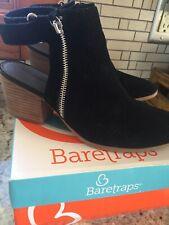 Baretraps Noelani Black Suede Size 8 1/2 M Open Heel Boots