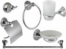 Set da bagno 6 pezzi in acciaio cromato e vetro satinato accessori bagno moderno