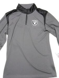 NEW OAKLAND RAIDERS TX3 COOL FIT Long Sleeve Zip NFL Gray Black Medium Shirt