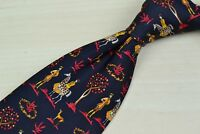 Savatore Ferragamo Black English Suitor Scenery 100% Silk Tie EUC Italy