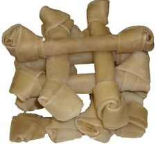 """10 huesos de cuero crudo anudada 9"""" - 10"""" Hide Dog Chew dental Nudo natural trata Nuevo"""