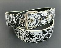 Black and White Biker Skulls Print Belt Bonded Leather Rock Rebel Emo Punk Rock