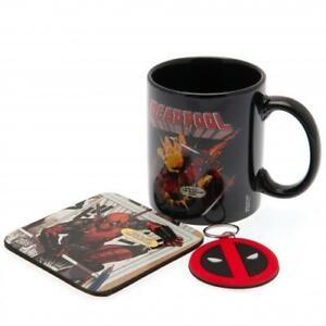 Marvel Comics Deadpool Coffee Mug Coaster Key Chain Ring Official Gift Set Black