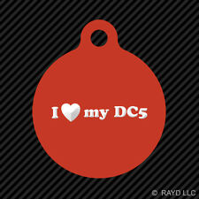 I Love my DC5 Keychain Round with Tab dog engraved many colors
