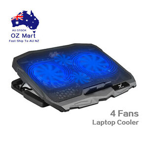 """Laptop Cooler Pad with 4 Blue LED Cooling Fans 2 USB Ports for Laptops up to 17"""""""