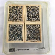 Stampin Up Elegant Ornaments rubber stamp set set of four wooden mounted