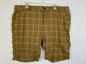 Novara Cycling Shorts Mens Size XL Brown Plaid Nylon Mesh Lined Zipped Pockets