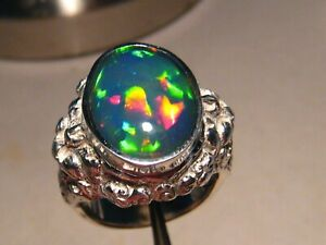 Very Large Men's Welo Opal Barong Ring sterling silver       Free Re  Size