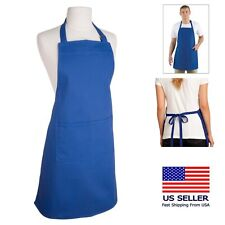 (2Pk) Royal Blue Bib Apron 3-Pocket Restaurant Kitchen Cooking Uniforms Arts