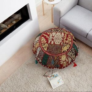 """Vintage Patchwork Round Floor Pillow 22"""" Indian Handmade Bohemian Cushion Cover"""