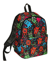 DAVID AND GOLIATH - MULTI COLOURED MONSTERS SCHOOL BACKPACK - BLACK