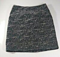Ann Taylor Loft Petite Pencil  Skirt Sz 00P Black/White Tweedy Look Short Zipper