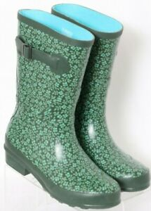 L.L. Bean Wellie 290684 Green Floral Pull On Rubber Rain Boots Women's US 6M