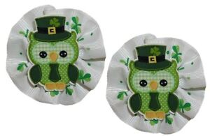 WD2U Baby Girl Set of 2 St Patricks Owl Green Shamrock Hair Bow Alligator Clips