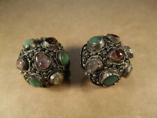 Antique Chinese Export Sterling Silver & Gemstones Clip Earrings, 14g