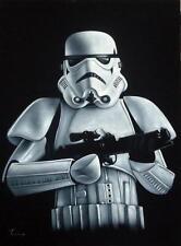 Star wars Imperial Stormtrooper black velvet oil painting handpainted signed art