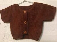HANDKNITTED CARDIGAN CHUNKY GARTER STITCH-WOOL/VISCOSE BAMBOO -NEW