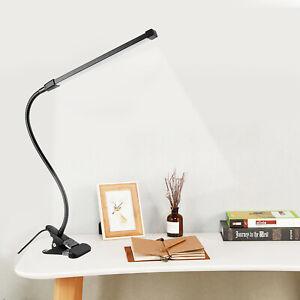 LED Schreibtischlampe Dimmbar Klemmleuchte Leselampe USB Nachttisch Tischlampe