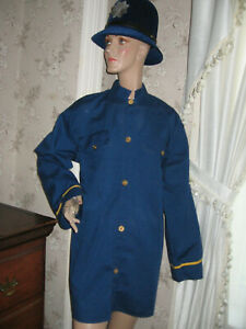 DELUXE KEYSTONE COP/ENGLISH BOBBY BLUE SHIRT & TOP QUALITY MOLDED HAT/HELMET