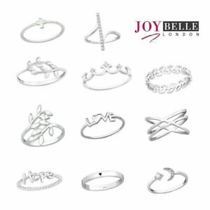 925 Sterling Silver Stacking Rings - Various Styles & Sizes