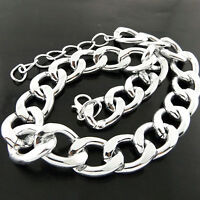 Necklace Chain Genuine 925 Sterling Silver S/F Ladies Bling Curb Link Design