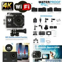 "2"" 4K Ultra 1080P HD 16MP Helm Action Camera Sports DV WiFi Cam 30m Waterproof"
