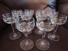 10 Vintage Cut Crystal Glasses w/Etched Starburst and Bubble Pattern