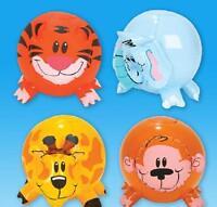 "(4) INFLATABLE ZOO ANIMAL SHAPE BEACH BALLS 12"" Safari Jungle Pool Party #AA73"