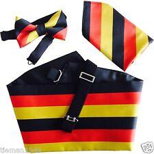 Alemana Alemania Bandera Nacional pre-tied Corbata De Moño Con Cummerbund Y Pañuelo Set