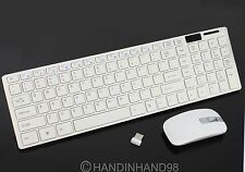 White 2.4G Optical Wireless Keyboard and Mouse USB Receiver Kit For PC Computer
